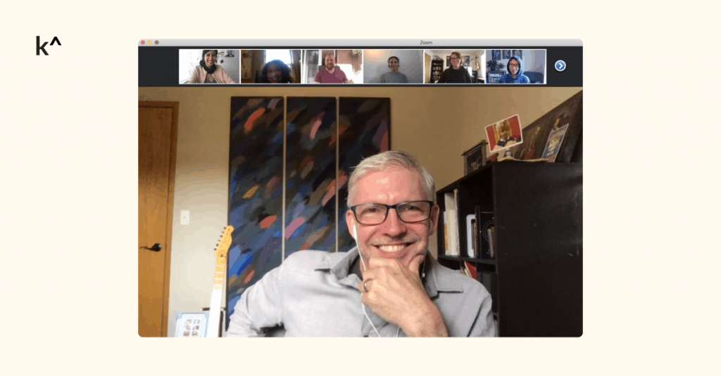 Bill in one of his first remote meetings with the marketing team behind Interview Engineering