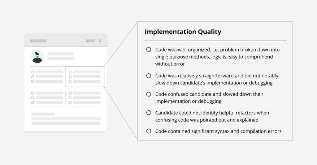Implementation quality competency turned into actions taken by a software developer.