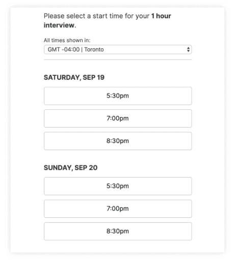 Technical Interview Scheduling
