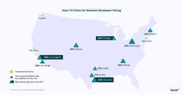 map of the best cities for software engineers to help with remote developer hiring
